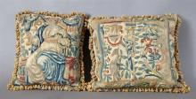 Pair of Needlepoint Pillows, constructed of 19th c. tapestry panels, with tasseled edge, H.- 16 in., W.- 16 in.