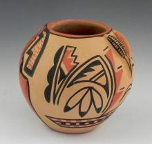 Native American Painted Pottery Bowl, 20th c., by C. Toya, Jemez Pueblo, H.- 5 in., Dia.- 5 1/4 in