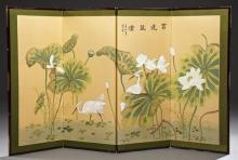 Chinese Brass Bound Four Panel Table Screen, 20th c., of water lilies and cranes, H.- 35 in., W.- Each Panel- 14 3/4 in., Total- 59 in.