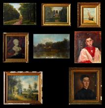 †Group of Nine French Oils on Canvas, 19th and 20th c., consisting of a Madonna, unframed; a priest, framed; T. Raty,