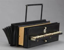 French Harmoniflute, c. 1860, by Mayer Marix, Paris, with a mother-of-pearl label, in the original wooden case, H.- 7 1/2 in., W.- 1...