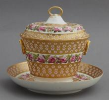 Derby Porcelain Covered Sugar Bowl and Flat, 19th c., with hand painted gilt and floral decoration, the underside with the Derby mar...