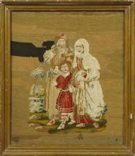 †English Needlework Panel, c. 1860, depicting the Holy Family, presented in a gilt frame, H.- 15 1/2 in.,, W.- 13 1/4 in.