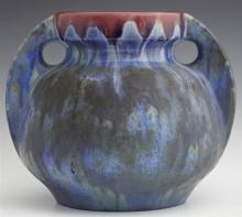 Pierrefonds Blue Drip Glaze Two Handled Baluster Jar, 20th c., impressed