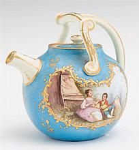 Unusual Miniature Limoges Porcelain Teapot, 19th c., by Jean Pouyat, of globular form with gilt decoration and a hand painted reserv...