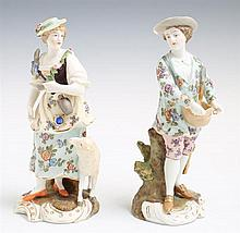 Pair of German Hand Painted Porcelain Figures, 19th c., of a woman with a lamb and a man with a basket, on integral gilt decorated s...