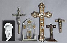 Group of Six Religious Items, early 20th c., consisting of four crucifixes, one rosewood with mother-of-pearl inlay; a marble and pl...