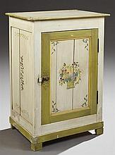 French Provincial Polychromed Carved Pine Confiturier, early 20th c., the top painted with olive and leaf corners within a green edg...