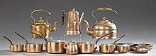 Group of Twelve Copper Pieces, 19th c. and early 20th c., consisting of three teapots, a coffee pot, a sauce pan with turned wood ha...