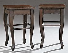 Pair of French Provincial Carved Oak and Birch Plant Stands, late 19th c., the square tops over serpentine skirts on cabriole legs j...