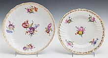 KPM Porcelain Bowl and Plate, 19th c., with gilt tracery borders and hand painted floral decoration, Bowl- H.- 1 5/8 in., D.- 9 1/2 in.