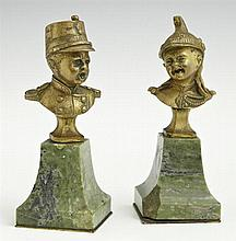 Unusual Pair of Cabinet Bronzes, 19th c., of children soldiers, on tapered green marble bases, H.- 4 7/8 in., W.- 1 15/16 in., D.- 1...