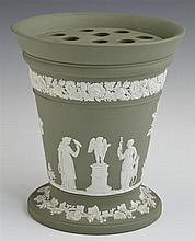 Wedgwood Green Jasperware Bough Pot, c. 1900, with insert, H.- 6 5/8 in., W.- 6 in.