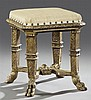 Italian Carved Giltwood Footstool, 19th c., the cushioned octagonal top on four reeded flat legs to paw feet, joined by an H-form st...