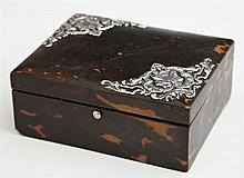 English Victorian Sterling Mounted Tortoise Shell Dresser Box, 19th c., H.- 2 in., W.- 5 in., D.- 4 in.