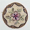 Rare Pocket Watch Sampler, 19th c., with a floral design, Dia.- 1 1/2 in.