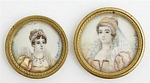 Catulle, Pair of Miniatures of Ladies, 19th c., signed l.r., presented in original bronze frames, Larger- Dia.- 1 1/16 in.