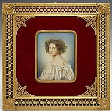 †Miniature Portrait of a Woman in Regency Dress, early 20th c., signed Dimarch center right, mounted in a pierced neoclassical brass...