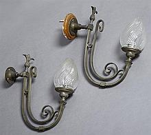 Pair of Bronze Gas Sconces, 19th c., with double scrolled supports, with cut glass bullet form shades, now electrified, H.- 14 3/4 i...