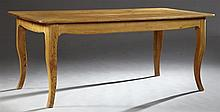 French Provincial Style Carved Pine Farmhouse Table, 20th c., one end with a drawer, on cabriole legs, H.- 29 5/8 in., W.- 72 in., D...