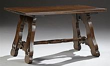 French Brittany Style Carved Oak Coffee Table, 20th c., the three plank rectangular top on double lyre form trestle supports with ca...