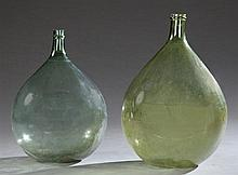 Two French Mold Blown Green Glass Wine Carboys, 19th c., Bordeaux, Larger- H.- 22 1/2 in., Dia.- 15 1/2 in.