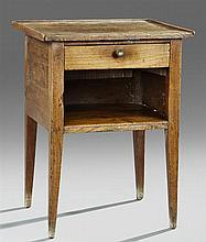 French Provincial Carved Elm Nightstand, 19th c., the three-quarter galleried rectangular top over a frieze drawer above open storag...