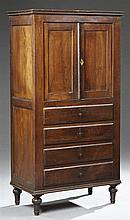 Diminutive French Provincial Louis Philippe Carved Oak Cabinet Chest, mid 19th c., the stepped crown over two cupboard doors above f...