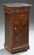 French Empire Carved Mahogany Marble Top Nightstand, 19th c., the highly figured rounded corner black marble over a cavetto frieze d...