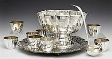 Assembled Eleven Piece Silver Plated Punch Bowl Set, consisting of a lobed bowl, ladle, 8 cups, and an associated tray, Bowl- H.- 7...