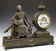 Ansonia Spelter and Cast Iron Open Escapement Figural Mantel Clock, late 19th c., with spelter figure of Denis Parin, early develope...