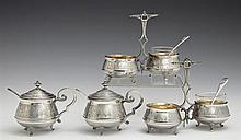 French Eight Piece Silverplated Gilt Washed Condiment Set, 19th c., by Lavallee Orfevre, Paris, consisting of two covered mustard po...