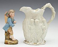 Two Pieces of Old Paris Porcelain, 19th c., consisting of a polychromed figure of a male flower gatherer and a biscuit porcelain rel...