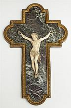 French Carved Ivory, Bronze and Marble Crucifix, 1898, the ivory corpus on a verde antico cruciform back plate, within a relief bron...