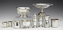 Ten Pieces of Sterling, consisting of a nut bowl, No. 672 by Whiting; a Paul Revere reproduction nut bowl, No. 4657 by Gorham; a bab...