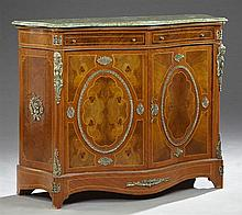 Louis XIV Style Ormolu Mounted Inlaid Walnut Marble Top Bowfront Bombe Cabinet, 20th c., the highly figured bowed green marble over...