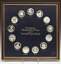 Collection of Franklin Mint Official Sterling Silver Bicentennial Medals of the Original 13 States, 20th c., each in a plastic case...