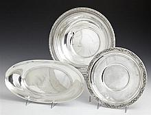 Three Sterling Pieces, 20th c., consisting of a Gorham Bread Bowl, #4463; a circular bowl by Whiting in the