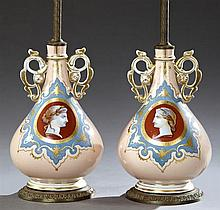 Pair of Classical Baluster Portrait Vases, 19th c., with reserves of classical figures, on a melon ground with blue and gilt decorat...
