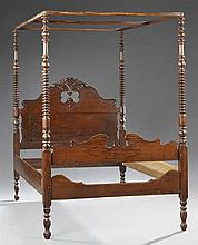 American Federal Style Carved Rosewood Grained Walnut Tester Bed, 19th c., the tester on bobbin turned tapered posts, to an arched h...