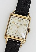 Gentleman's 14K Yellow Gold Longines Tank Wrist Watch, 20th c., manual wind, with a lizard band, running.