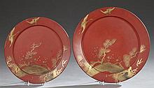 Pair of Oriental Red Lacquer Papier Mache Chargers, with central gilt landscape reserves with crane decorated borders, Larger- H.- 2...