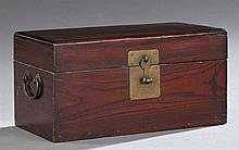 Korean Carved Elm Scholar's Box, 19th c., with a brass escutcheon and handles, the interior with a lift-out writing implement tray,...