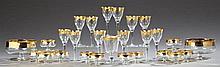 Twenty-Seven Piece Gilt Rimmed Crystal Dessert Service, 20th c., consisting of 12 wine glasses, 12 sherbet bowls, 2 serving bowls, a...
