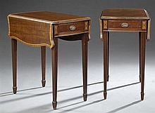 Pair Hepplewhite Style Inlaid Mahogany Drop Leaf Lamp Tables, 20th c., the canted corner shaped top over a wide skirt with an end dr...