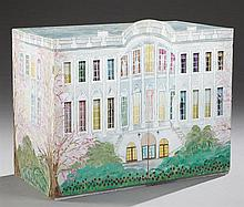 American Polychromed Plywood Playhouse Style Cupboard, 1984, in multi-hued paint decoration of a Greek Revival house, with glass win...