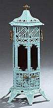 French Enameled Cast Iron Room Heater, late 19th c., by Arthur Martin Foundry, Revin Nancy, of octagonal form with Chinoisserie reli...
