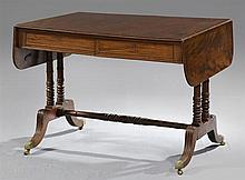 English Regency Style Mahogany Drop Leaf Writing Table, 19th c., the reeded edge top over two frieze drawers, the whole on double ri...
