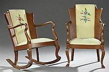 Two American Arts and Crafts Carved Oak Parlor Chairs, c. 1900, consisting of one armchair and one rocking chair with shield form ba...