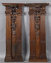 Pair of Victorian Carved Walnut Architectural Elements, 19th c